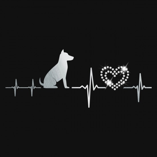 Glittering heart ladies t-shirt with real crystals - V-neck - black - My heart beats for dogs