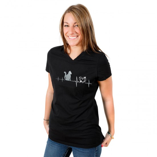 Glittering heart ladies t-shirt with real crystals - V-neck - black - My heart beats for cats
