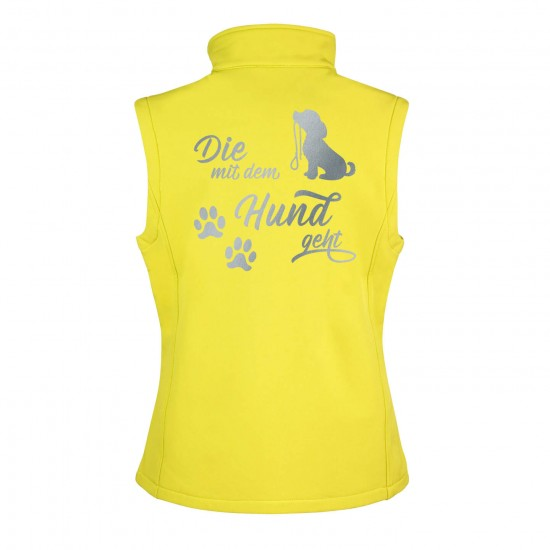 Dog Sport Vest - Softshell Vest with reflective design - yellow/black - REFLECTION SERIES