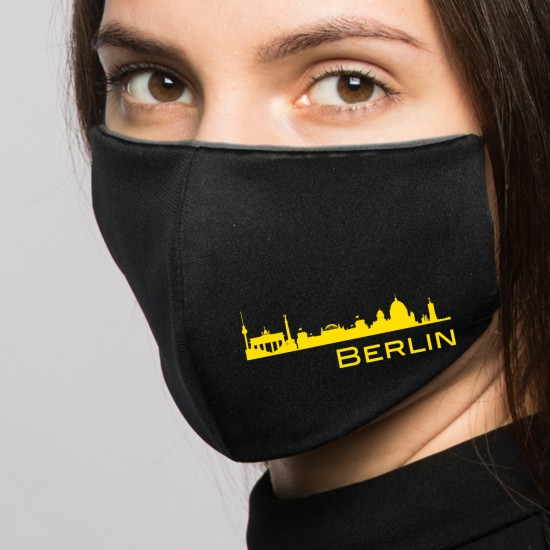 Reusable makeshift mask printed with city motif -black- (2 pieces)