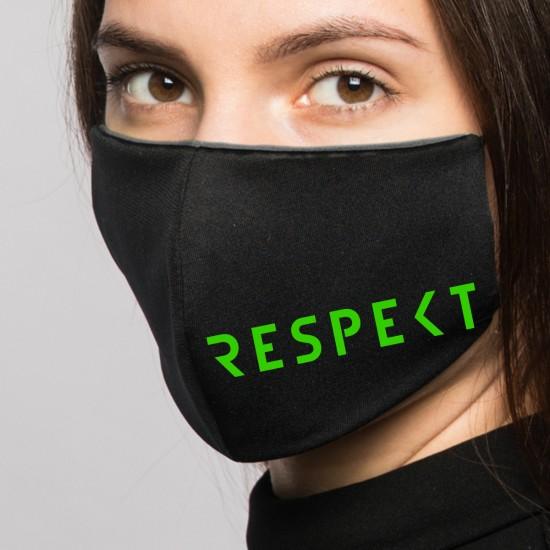 Reusable temporary mask printed with a distinctive slogan -black- (2 pieces)