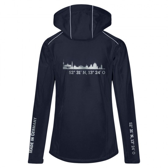 Lifestyle Softshell Jacket with reflective design and removable hood - WITH GERMAN CITY NAMES - Navy Blue - REFLECTION SERIES