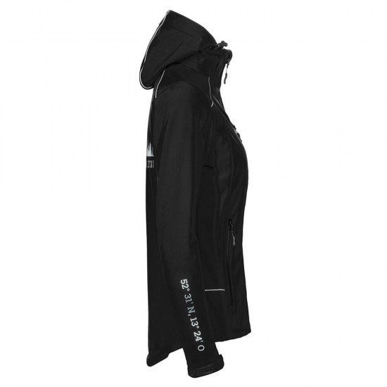 Lifestyle Softshell Jacket with reflective design and removable hood - WITH GERMAN CITY NAMES - Black - REFLECTION SERIES