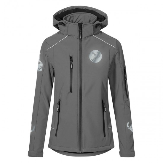 Hooded Riding jacket RIDE-PERFORMANCE PX PROFESSIONAL - Softshell with reflective design - Steel Grey - REFLECTION SERIES