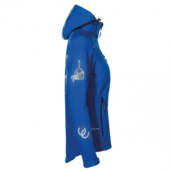 Hooded Riding jacket RIDE-PERFORMANCE PX PROFESSIONAL - Softshell with reflective design - Royal Blue - REFLECTION SERIES