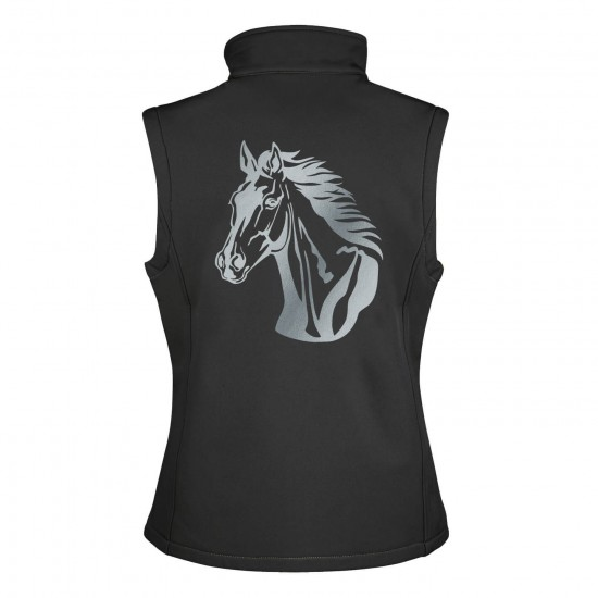 Riding vest RIDE-PERFORMANCE RX in softshell with reflective design - black/orange - REFLECTION SERIES