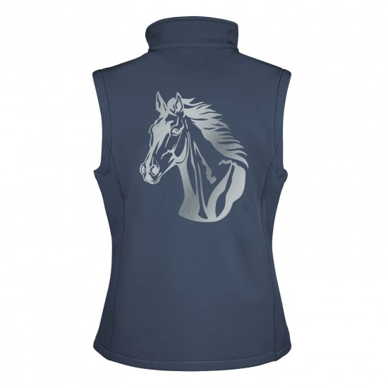Riding vest RIDE-PERFORMANCE RX in softshell with reflective design - navy/royal - REFLECTION SERIES
