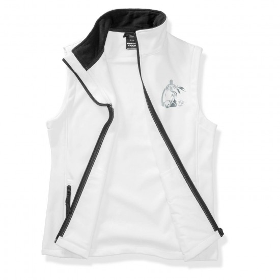 Riding vest RIDE-PERFORMANCE RX in softshell with reflective design - white/black - REFLECTION SERIES