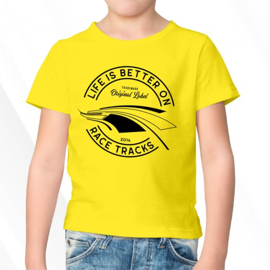 Motorsport Fan T-Shirt Kids - LIFE IS BETTER ON RACETRACKS - BRANDLABEL